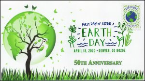 20-084, 2020, Earth Day, Digital Color Postmark, First Day Cover, Earth and tree