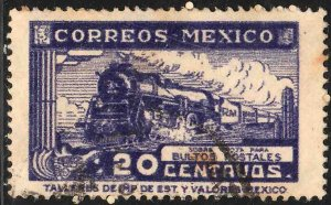MEXICO Q6, 20¢ PARCEL POST. STEAM ENGINE. USED. F-VF (1019)