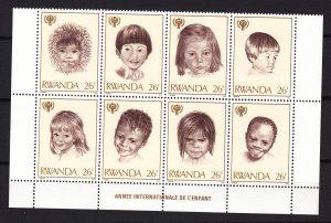 Z2967 1979 rwanda blk/8 mnh #923 children