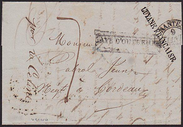 FRENCH GUIANA 1838 cover ex Cayenne with surperb GUYANE FRANCAISE...........6676