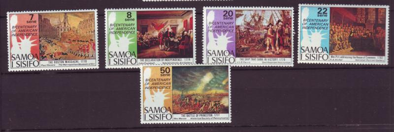 J19639 Jlstamps 1976 samoa set mnh #428-32 usa independence