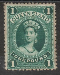 QUEENSLAND 1882 QV LARGE CHALON 1 POUND WMK CROWN/Q UPRIGHT