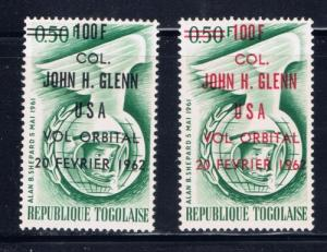 Togo 421421a  NH 1962 overprint in two colors