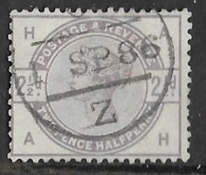 Great Britain # 101  Victoria  2½d.   cancel 1 SP 84  (1)   VF Used