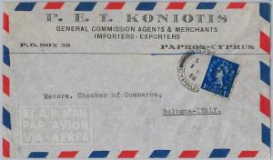 CYPRUS  -  POSTAL HISTORY - COVER to ITALY - 1956 : Wrong stamp
