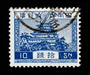 JAPAN 10 SEN ⭐ 1926 SCENERY SERIES ⭐ CANCELLED USED WATERMARKED