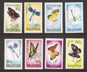 Albania    #922-929   MNH   1966  dragonfl  butterfl  swallow-tail