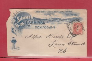 Summer Carnival Halifax NS Small Queen Squared Circle 1896 advertising cover