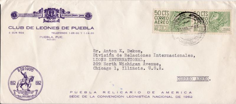 Mexico  1962 Airmail Lions Club of Puebla corner card