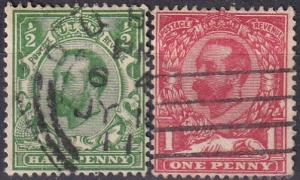 Great Britain #151-2 F-VF Used CV $7.50 (A18797)