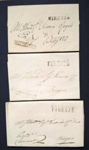 Italia 1827 (approx) Three Covers FIRENZE ROTA CRIMINALE to Bagno