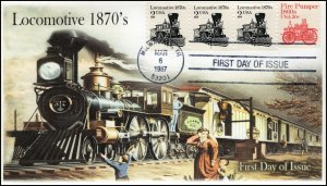 AO-2226-2, 1987, Locomotive 1870''s,  Add-on Cachet, First Day Cover, SC 2226
