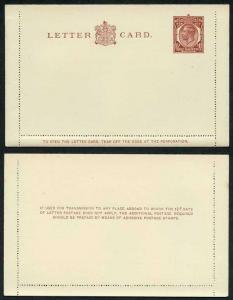 LCP11a KGV 1 1/2d Brown Post Office Issue Letter Card Gum on Front Mint
