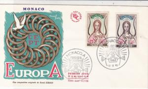 Europa Monaco 1963 Two Birds Slogan Cancels Chain Pic FDC Stamps Cover Ref 25993