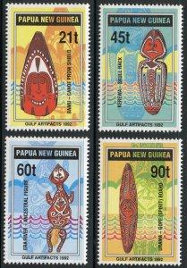 Papua New Guinea Scott 786-89 MNHOG - 1992 Papuan Gulf Artifacts - SCV $6.75