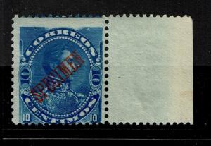 Venezuela 1893 10c Blue Specimen, Mint Never Hinged, lg ovpt, w salvage - S1461