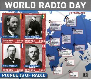 Grenada 2013 MNH UNESCO World Radio Day Hertz Fessenden Bose 4v M/S Stamps