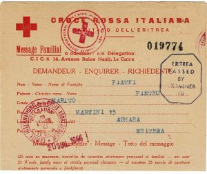 Eritrea (British occupation) 1944 POW Red Cross letter card to Italy, censored