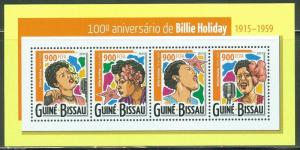 GUINEA BISSAU 2015 100th BIRTH ANNIVERSARY OF  BILLIE HOLIDAY SHEET  MINT NH