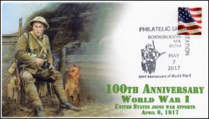 17-321, 2017,World War I, 100th Anniversary, Pictorial Postmark, Boxborough MA