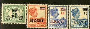 SURINAME 116-9 MNH SCV $6.55 BIN $3.50 ROYALTY, NUMERICAL DENOMINATION