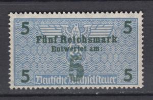 WWII  Third Reich Taxe / Revenue High Denomination 5 ReichsMark MNH Luxe