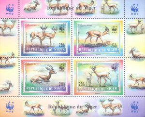 Niger 1998 Gazelle Deer Animals WWF Wildlife Nature 4v Mint S/S. (#6)