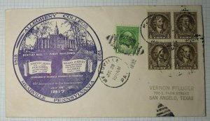 Allegheny College Bentley Hall Meadville PA Sc# 704 705 Event Cover 1932