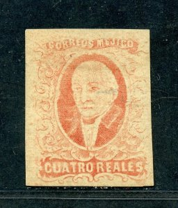 MEXICO HIDALGO 1856 SCOTT# 4c FOLLANSBEE# 4A MINT HINGED SIGNED AS SHOWN