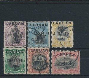 LABUAN 1896 JUBILEE SET OF SIX FU SG 83/88 CAT £110