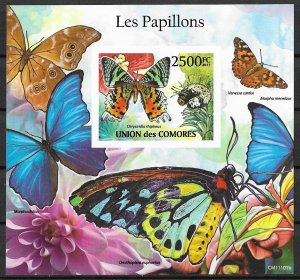 Comoro Islands MNH S/S Blue Butterflies Insects 2011