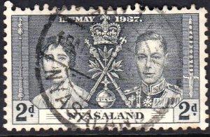 Rhodesia and Nyasaland, 1937,Used