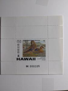 1997 HAWAII $ 5.00 DUCK STAMP WITH FULL TAB NEVER HINGED GEM