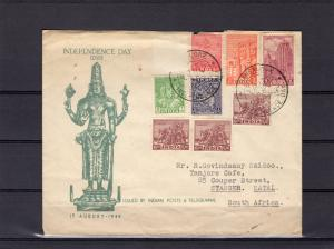 India 1949  Independence Day Cover and Cancels send to South Africa