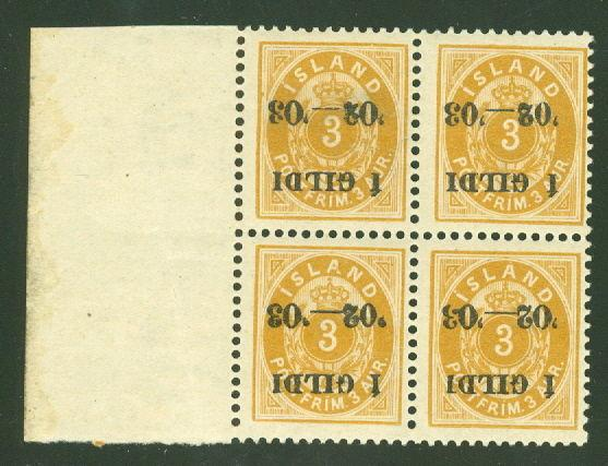 ICELAND #50b (49v1) 3aur INVERTED I GILDI Ovpt on margin Block of 4, og, NH, VF