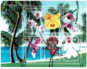 Maldives MNH S/S Gorgeous Orchids 6 Stamps