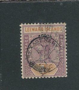 LEEWARD IS 1897 4d DULL MAUVE & ORANGE FU SG 12 CAT £80