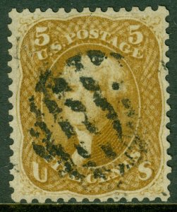 EDW1949SELL : USA 1867 Sc #67 XF, Used. Beautifully centered PSAG Cert Cat $1000
