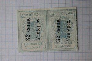 Mexico Morelos 1882 M343 32c surcharged overprint Yautepec pair period / no