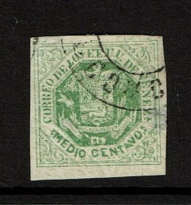 Venezuela SC# 16, Used, Hinge Remnants, side thin, full gum - S11323