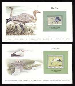 Birds-2 cards [#17b] with a mnh Bird of the World stamp-coloured cachet-Blue C
