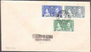 TURKS & CAICOS 1937 Coronation FDC - SALT CAY cds..........................35259