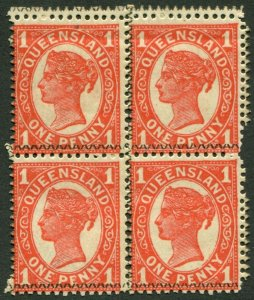 QUEENSLAND-1897-1908 1d Vermilion.  A lightly mounted mint block of 4 Sg 260