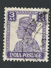 India Scott #174 3a King George VI used (1941)