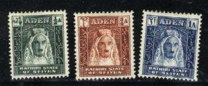 Aden Kathiri State of Seiyun 1-3   M  VF 1942 PD
