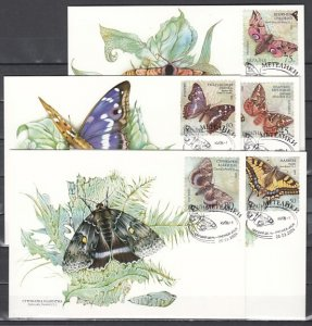 Ukraine, Scott cat. 538 A-E. Butterfly issue as Max. Cards. ^
