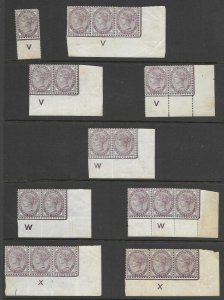 1d Lilac - a selection of mounted mint controls - MOUNTED MINT