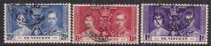 St Vincent 1937 KGV1 Set Coronation used SG 146 - 148 ( E481 )