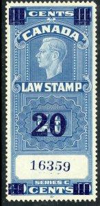 CANADA 1938 KGVI 20c on 10c LAW STAMP VDM. FSC22 MNH
