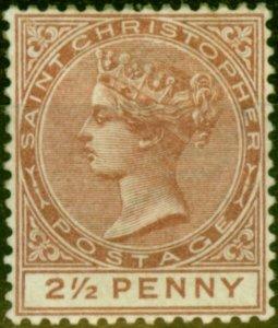 St Christopher 1879 2 1/2d Red-Brown SG7 Good Mtd Mint